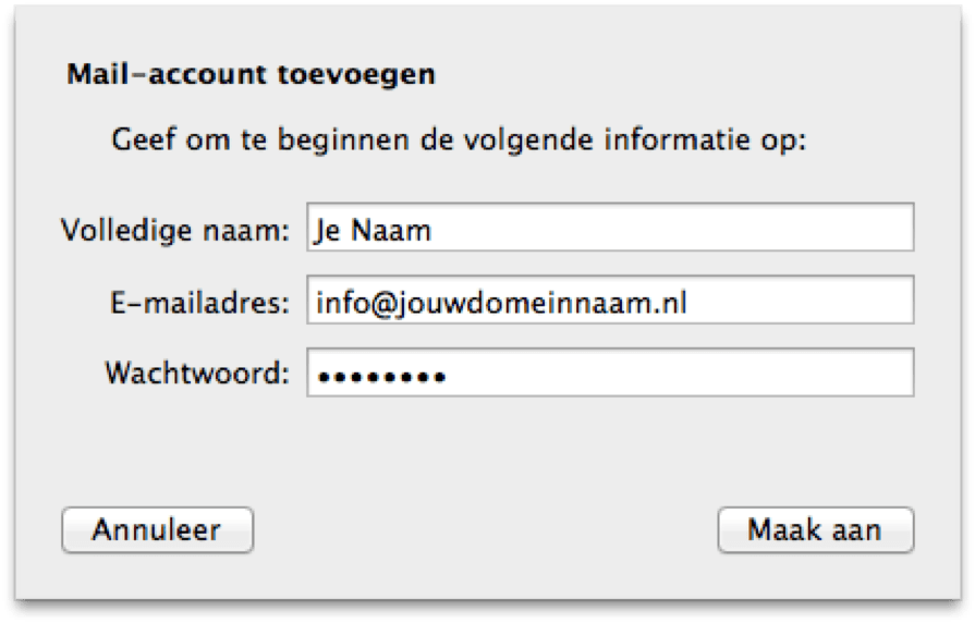Vul je naam, e-mailadres en wachtwoord in en druk op 'Maak aan'.
