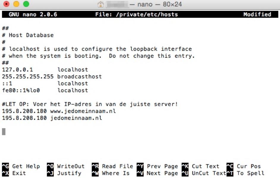 hostsfile aanpassen mac