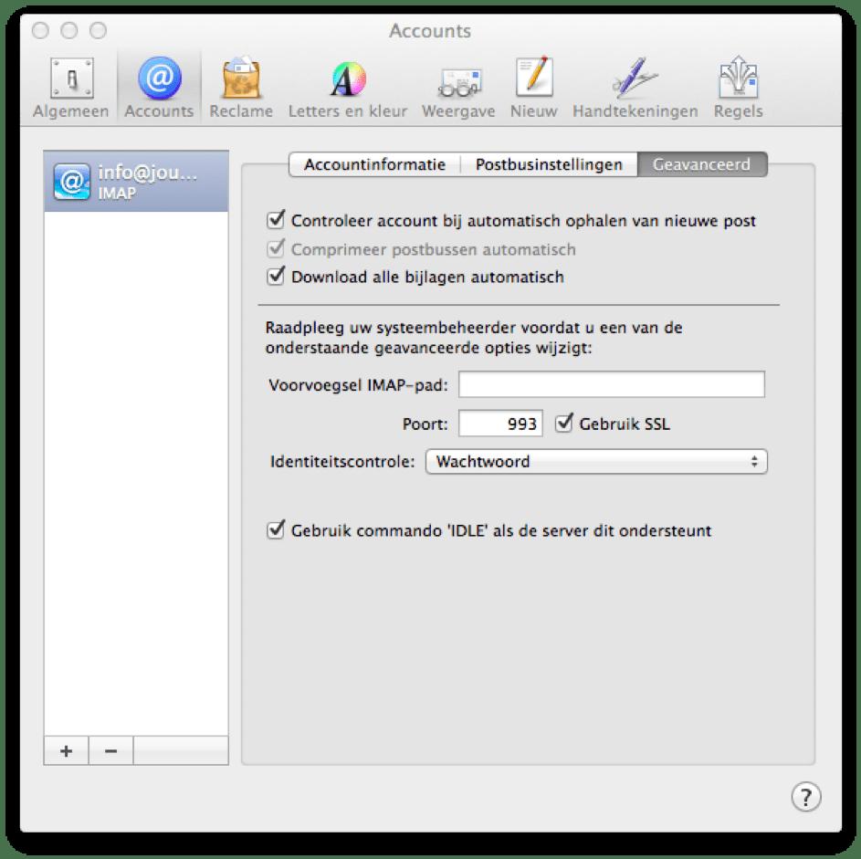 Het instellen van identiteitscontrole in Apple Mail.